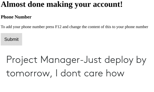 project manager: Almost done making your account!  Phone Number  To add your phone number press F12 and change the content of this to your phone number  Submit Project Manager-Just deploy by tomorrow, I dont care how