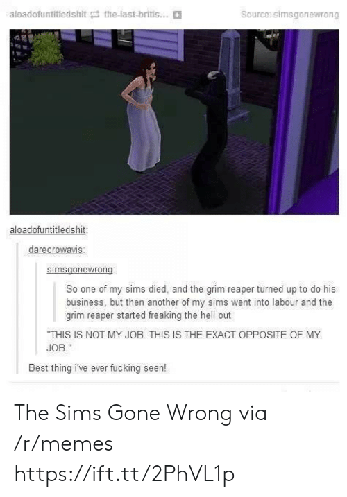 Gone Wrong: aloadofuntitledshit the-last-britis...  Source: simsgonewrong  aloadofuntitledshit  darecrowavis  So one of my sims died, and the grim reaper turned up to do his  business, but then another of my sims went into labour and the  grim reaper started freaking the hell out  THIS IS NOT MY JOB. THIS IS THE EXACT OPPOSITE OF MY  JOB.  Best thing i've ever fucking seen! The Sims Gone Wrong via /r/memes https://ift.tt/2PhVL1p