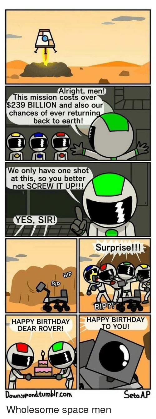 Birthday, Tumblr, and Happy Birthday: Alright, men  This mission costs over  $239 BILLION and also our  chances of ever returnin  back to earth!  e only have one shot  at this, so you better  not SCREW IT UP!!!  YES, SIR!  Surprise!!!  r.  BIP  BIP?!  HAPPY BIRTHDAY HAPPY BIRTHDAY  DEAR ROVER!  O YOU!  ownyPond.tumblr.com  SetoAP Wholesome space men
