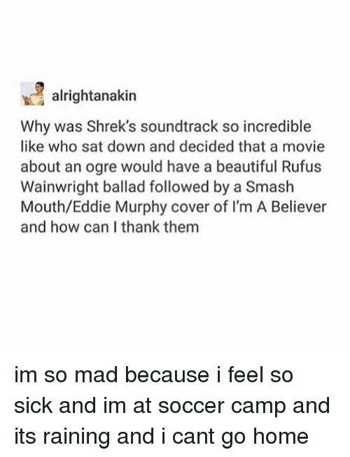 Beautiful, Eddie Murphy, and Memes: alrightanakin  Why was Shrek's soundtrack so incredible  like who sat down and decided that a movie  about an ogre would have a beautiful Rufus  Wainwright ballad followed by a Smash  Mouth/Eddie Murphy cover of I'm A Believer  and how can I thank them im so mad because i feel so sick and im at soccer camp and its raining and i cant go home