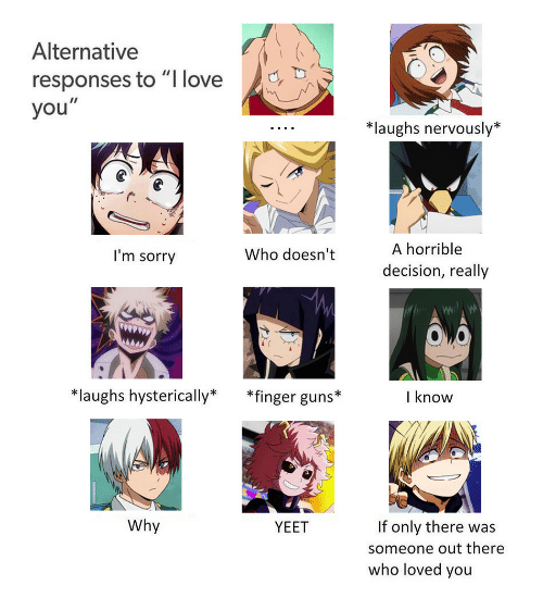 """Guns, Love, and Sorry: Alternative  responses to """"I love  you  *laughs nervously*  I'm sorry  Who doesn't  A horrible  decision, really  laughs hysterically* *finger guns*  I know  Why  If only there was  someone out there  who loved you  YEET"""