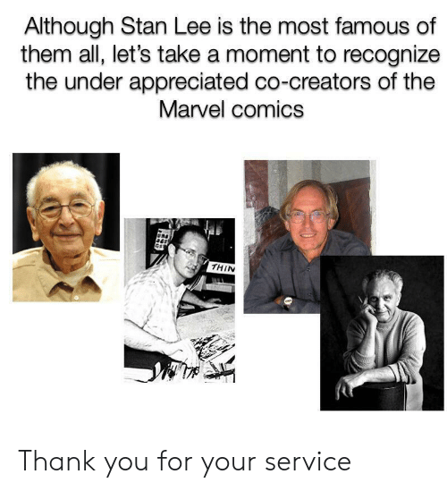 Marvel Comics, Stan, and Stan Lee: Although Stan Lee is the most famous of  them all, let's take a moment to recognize  the under appreciated co-creators of the  Marvel comics  THIN Thank you for your service