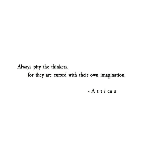 Thinkers: Always pity the thinkers,  for they are cursed with their own imagination.  - Att cu s