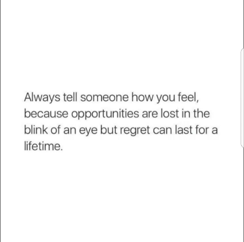 blink: Always tell someone how you feel,  because opportunities are lost in the  blink of an eye but regret can last for a  lifetime.