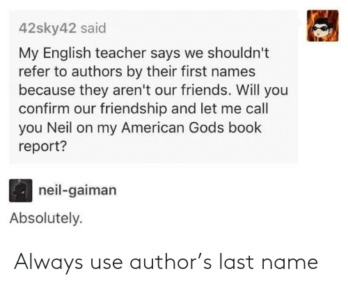 last name: Always use author's last name