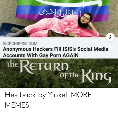 Gay Porn: ALY LINES  i  SICKCHIRPSE.COM  Anonymous Hackers Fill ISIS's Social Media  Accounts With Gay Porn AGAIN  the ReTuRn  obe King  ETURN  OFTHE Hes back by Yinxell MORE MEMES