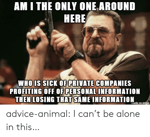 whois: AM I THE ONLY ONE AROUND  HERE  WHOIS sicK OF PRIVATE COMPANIES  PROFITING OFF OF PERSONAL INFORMATION  THEN LOSING THAT SAME INFORMATION advice-animal:  I can't be alone in this…