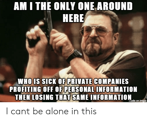 whois: AM I THE ONLY ONE AROUND  HERE  WHOIS sicK OF PRIVATE COMPANIES  PROFITING OFF OF PERSONAL INFORMATION  THEN LOSING THAT SAME INFORMATION I cant be alone in this