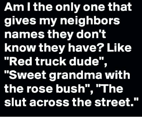 """Dude, Grandma, and Memes: Am I the only one that  gives my neighbors  names they don't  know they have? Like  """"Red truck dude"""",  """"Sweet grandma with  the rose bush"""", """"The  slut across the street."""""""