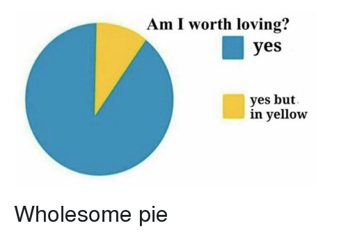 Wholesome, Yes, and Pie: Am I worth loving?  yes  yes but  in yellow Wholesome pie