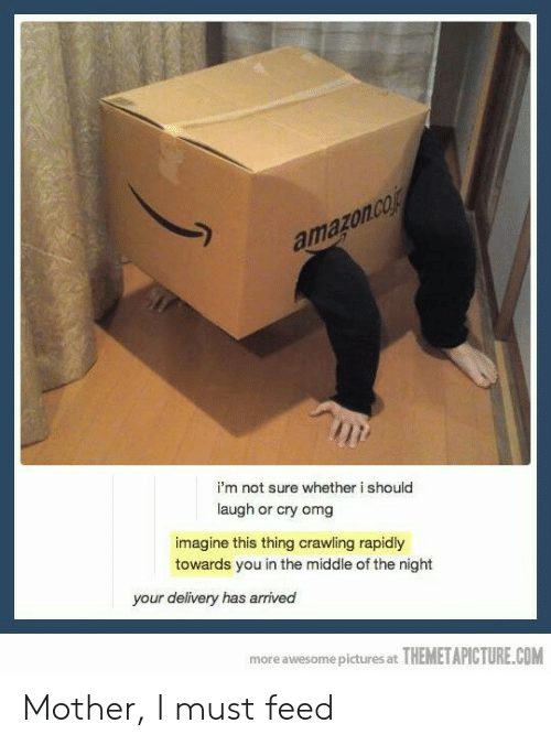 Should Laugh: amazon.co  i'm not sure whether i should  laugh or cry omg  imagine this thing crawiling rapidly  towards you in the middle of the night  your delivery has arrived  more awesome pictures at THEMETAPICTURE.COM Mother, I must feed
