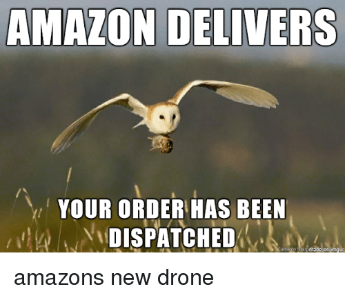 Amazon, Drone, and Been: AMAZON DELIVERS  YOUR ORDER HAS BEEN  DISPATCHED amazons new drone