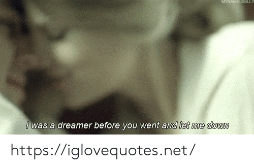 Net, Down, and You: AME SBILL  Iwas a dreamer before you went and let me down https://iglovequotes.net/