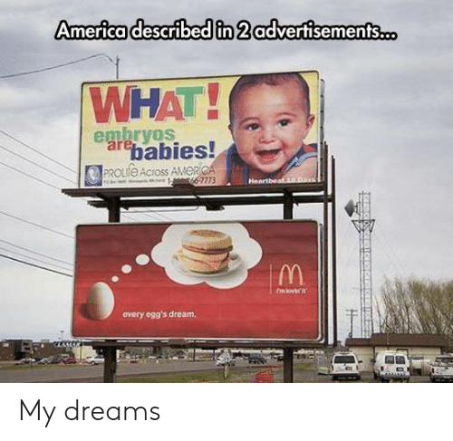 America, Dreams, and Dream: America described in 2 advertisements.o  WHAT!  embryos  arebabies!  PROLIFE Across AMERICA  66-7773  Heartbeat 18.Day  fmlovir it  every ogg's dream. My dreams