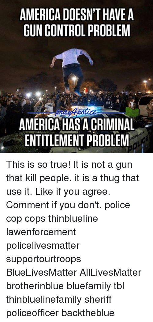 All Lives Matter, America, and Memes: AMERICA DOESN'T HAVEA  GUN CONTROL PROBLEM  AMERICA HAS A CRIMINAL  ENTITLEMENT PROBLEM This is so true! It is not a gun that kill people. it is a thug that use it. Like if you agree. Comment if you don't. police cop cops thinblueline lawenforcement policelivesmatter supportourtroops BlueLivesMatter AllLivesMatter brotherinblue bluefamily tbl thinbluelinefamily sheriff policeofficer backtheblue
