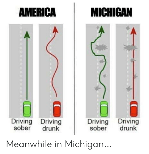 Sober: AMERICA  MICHIGAN  Driving Driving  Driving Driving  sober  drunk  sober  drunk Meanwhile in Michigan…
