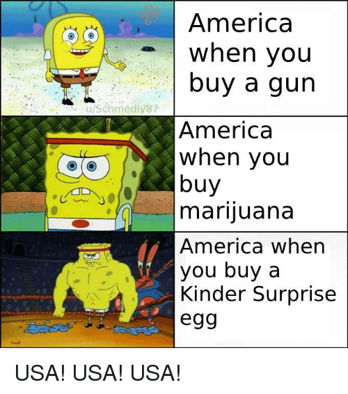 America, Marijuana, and Usa: America  When you  buy a gun  u/Schmedly87  America  when you  buy  marijuana  America wher  you buy a  Kinder Surprise  egg USA! USA! USA!