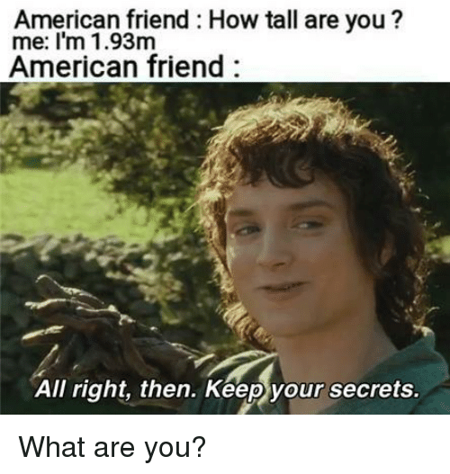 American, How, and Friend: American friend How tall are you?  me: I'm 1.93m  American friend  All right, then. Keep your secrets What are you?