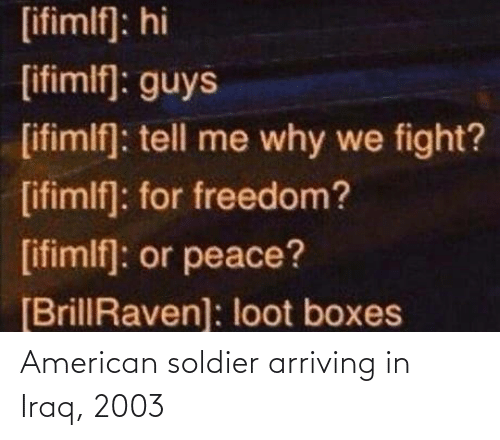 Iraq: American soldier arriving in Iraq, 2003