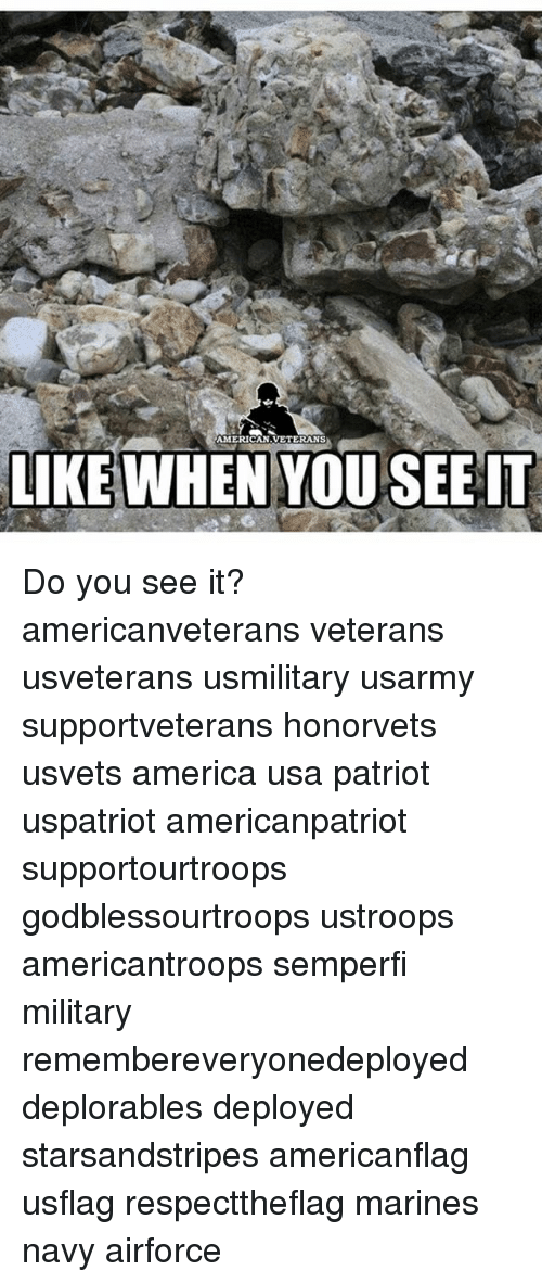 Do You See It: AMERICAN VETERANS  LIKE WHEN YOU SEE IT Do you see it? americanveterans veterans usveterans usmilitary usarmy supportveterans honorvets usvets america usa patriot uspatriot americanpatriot supportourtroops godblessourtroops ustroops americantroops semperfi military remembereveryonedeployed deplorables deployed starsandstripes americanflag usflag respecttheflag marines navy airforce