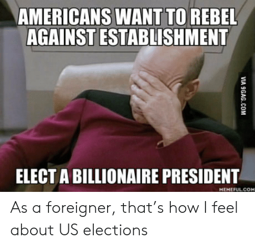 Rebel Against: AMERICANS WANT TO REBEL  AGAINST ESTABLISHMENT  ELECT A BILLIONAIRE PRESIDENT  MEHEFUL.COM  VIA 9GAG.COM As a foreigner, that's how I feel about US elections
