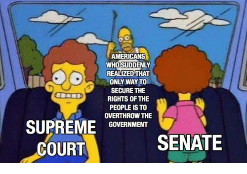 Supreme, Government, and Senate: AMERICANS  WHOSUDDENLY  REALIZED THAT  ONLY WAY TO  SECURE THE  RIGHTS OF THE  PEOPLE IS TO  OVERTHROW THE  SUPREME GOVERNMENT  COURT  SENATE