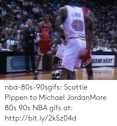 80s, Michael Jordan, and Nba: AMI HEAT nba-80s-90sgifs:  Scottie Pippen to Michael JordanMore 80s  90s NBA gifs at: http://bit.ly/2kSz04d