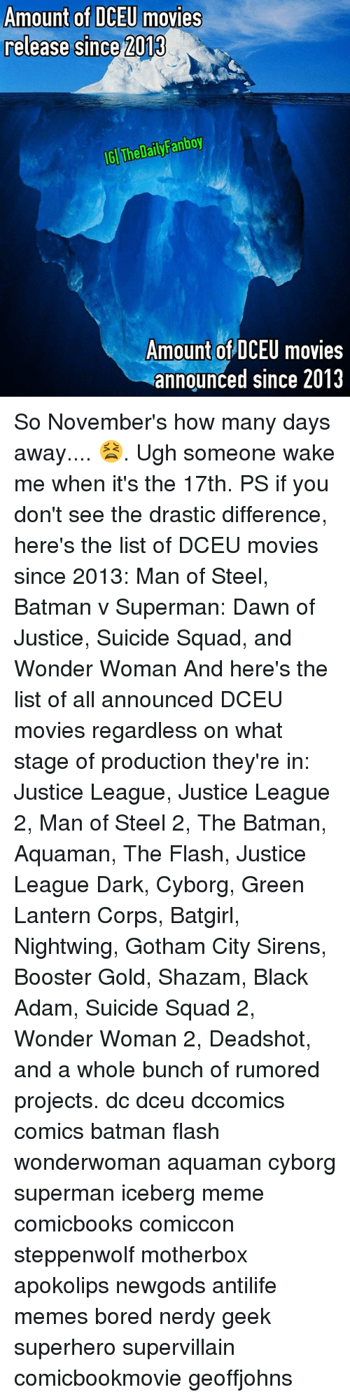 black adam: Amount of DCEU movies  release since 2013  GI The DailyFanboy  Amount of DCEU movies  announced since 2013 So November's how many days away.... 😫. Ugh someone wake me when it's the 17th. PS if you don't see the drastic difference, here's the list of DCEU movies since 2013: Man of Steel, Batman v Superman: Dawn of Justice, Suicide Squad, and Wonder Woman And here's the list of all announced DCEU movies regardless on what stage of production they're in: Justice League, Justice League 2, Man of Steel 2, The Batman, Aquaman, The Flash, Justice League Dark, Cyborg, Green Lantern Corps, Batgirl, Nightwing, Gotham City Sirens, Booster Gold, Shazam, Black Adam, Suicide Squad 2, Wonder Woman 2, Deadshot, and a whole bunch of rumored projects. dc dceu dccomics comics batman flash wonderwoman aquaman cyborg superman iceberg meme comicbooks comiccon steppenwolf motherbox apokolips newgods antilife memes bored nerdy geek superhero supervillain comicbookmovie geoffjohns