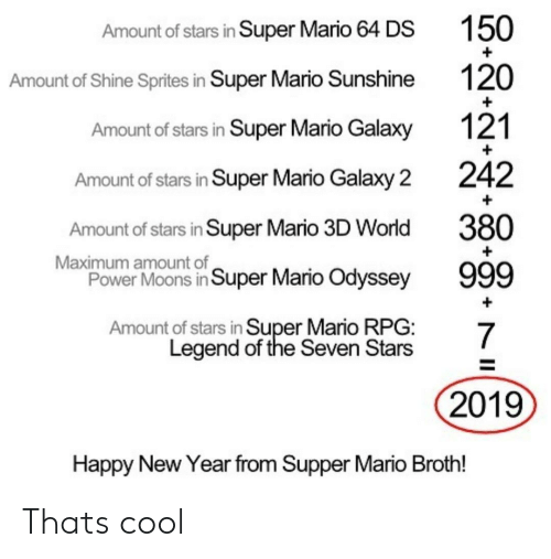 New Year's, Super Mario, and Mario: Amount of stars in Super Mario 64 DS  Amount of Shine Sprites in Super Mario Sunshine  Amount of stars in Super Mario Galaxy  Amount of stars in Super Mario Galaxy 2  Amount of stars in Super Mario 3D World  Power Moons in Super Mario Odyssey  Amount of stars in Super Mario RPG:  150  120  121  242  380  Maximum amount of  Legend of the Seven Stars  2019  Happy New Year from Supper Mario Broth! Thats cool