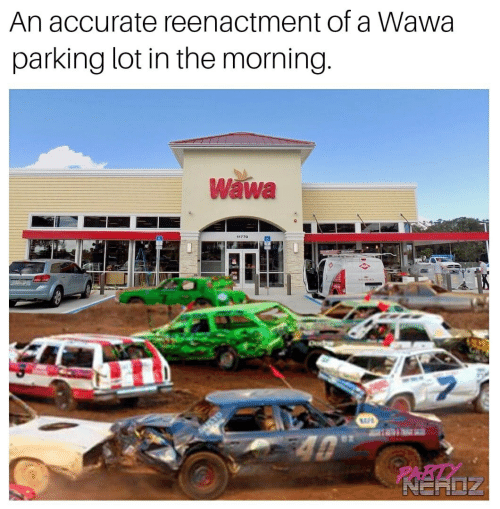 Wawa, Parking, and Morning: An accurate reenactment of a Wawa  parking lot in the morning  Wawa