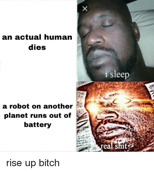 Bitch, Sleep, and Smt: an actual human  dies  i sleep  a robot on another  planet runs out of  battery  eal smt rise up bitch