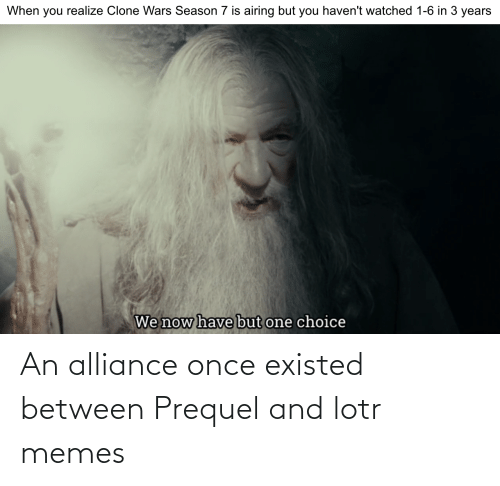 Lotr Memes: An alliance once existed between Prequel and lotr memes