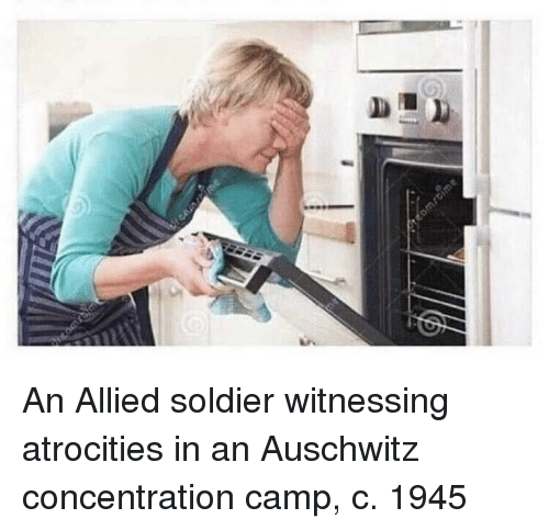 Atrocities: An Allied soldier witnessing atrocities in an Auschwitz concentration camp, c. 1945