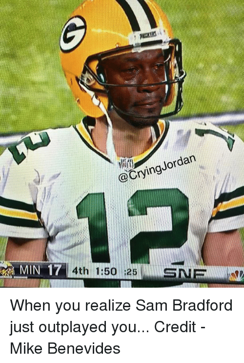 Crying, Sam Bradford, and Sam: an  @Crying NMIN 17  4th 1:50 :25  SNE When you realize Sam Bradford just outplayed you...  Credit - Mike Benevides