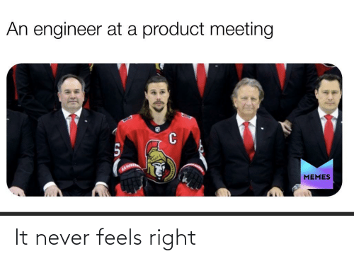 Never: An engineer at a product meeting  MEMES It never feels right