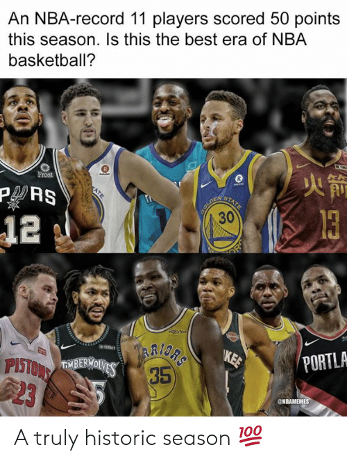 Basketball, Nba, and Best: An NBA-record 11 players scored 50 points  this season. Is this the best era of NBA  basketball?  Frost  火箭  12  +fitbit  PITVBEOVS 35  2  PORTLA  ONBAMEMES A truly historic season 💯