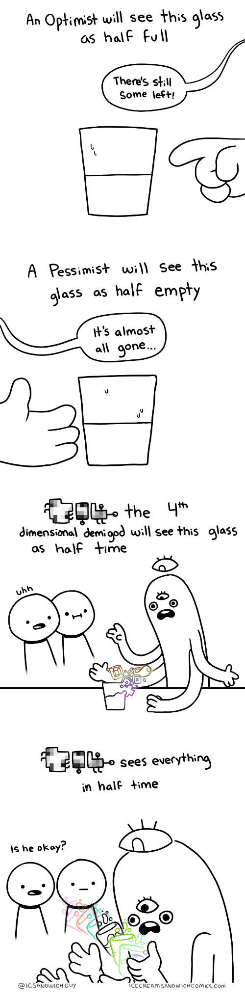 Okay, Time, and Com: An Optimist will see this qlass  as half full  There's stll  Some left!   A Pessimist will see this  gjass as half empty  It's almost  all aone..   OFRt,.the glass  dimensional demi opd will see this qlass  as half time  uhh   Sees everythin  in half time  Is he okay?  о.  ICSANDWICH GUY  ICECREAMSANDWICHCOMICS.Com