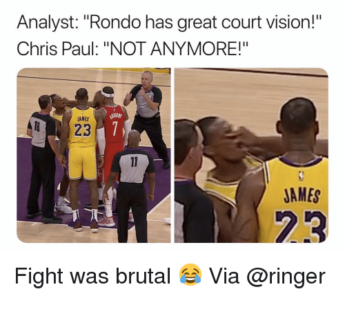 """Basketball, Chris Paul, and Nba: Analyst: """"Rondo has great court vision!""""  Chris Paul: """"NOT ANYMORE!""""  AMES  823  JAMES  23 Fight was brutal 😂 Via @ringer """