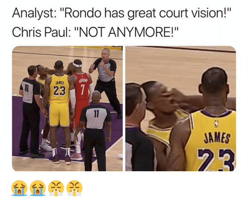 """Analyst: Analyst: """"Rondo has great court vision!  Chris Paul: """"NOT ANYMORE!""""  AMES  JAMES 😭😭😤😤"""