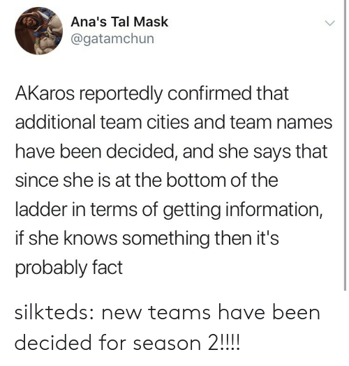 anas: Ana's Tal Mask  @gatamchun  AKaros reportedly confirmed that  additional team cities and team names  have been decided, and she says that  since she is at the bottom of the  ladder in terms of getting information,  if she knows something then it's  probably fact silkteds:  new teams have been decided for season 2!!!!