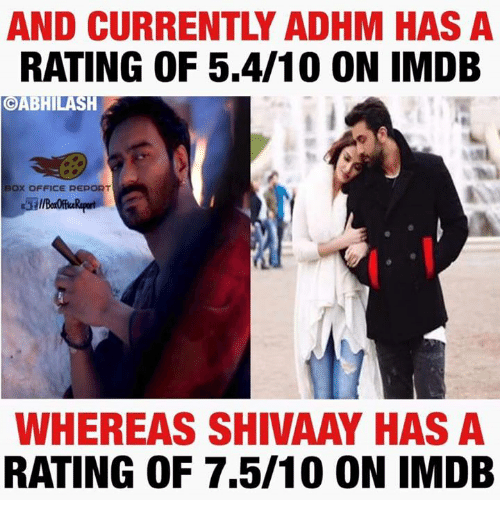 Boxing, Memes, and Box Office: AND CURRENTLY ADHM HAS A  RATING OF 5.4/10 ON IMDB  OABHILA  BOX OFFICE REPORT  WHEREAS SHIVAAY HAS A  RATING OF 7.5/10 ON IMDB