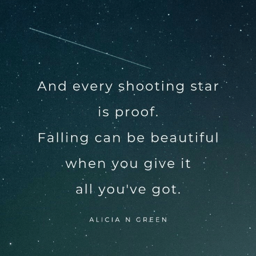 proof: And every sh ooting star  is proof.  Falling can be beautiful  when you give it  all you've got.  ALICIA N GREEN