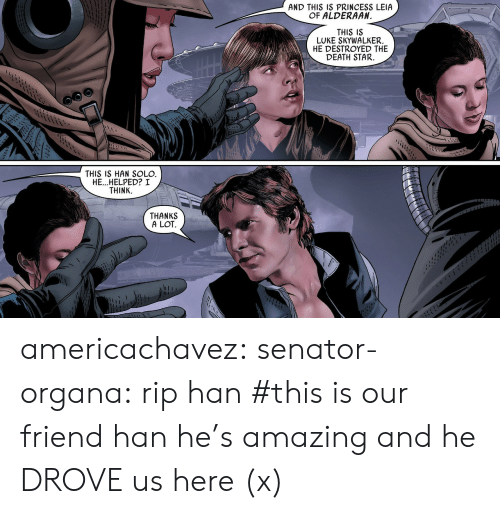 Princess Leia: AND THIS IS PRINCESS LEIA  OF ALDERAAN  I1  THIS IS  LUKE SKYWALKER.  HE DESTROYED THE  DEATH STAR.  THIS IS HAN SOLO  HE...HELPED? I  THINK.  THANKS  A LOT americachavez: senator-organa: rip han #this is our friend han he's amazing and he DROVE us here(x)