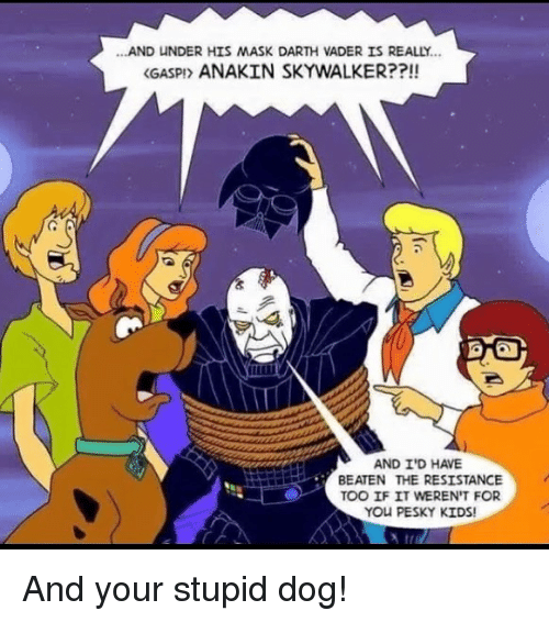 Anakin Skywalker: ...AND UNDER HIS MASK DARTH VADER IS REALLY..  <GASPI> ANAKIN SKYWALKER??!!  AND I'D HAVE  BEATEN THE RESISTANCE  TOO IF IT WEREN'T FOR  YOU PESKY KIDS! And your stupid dog!