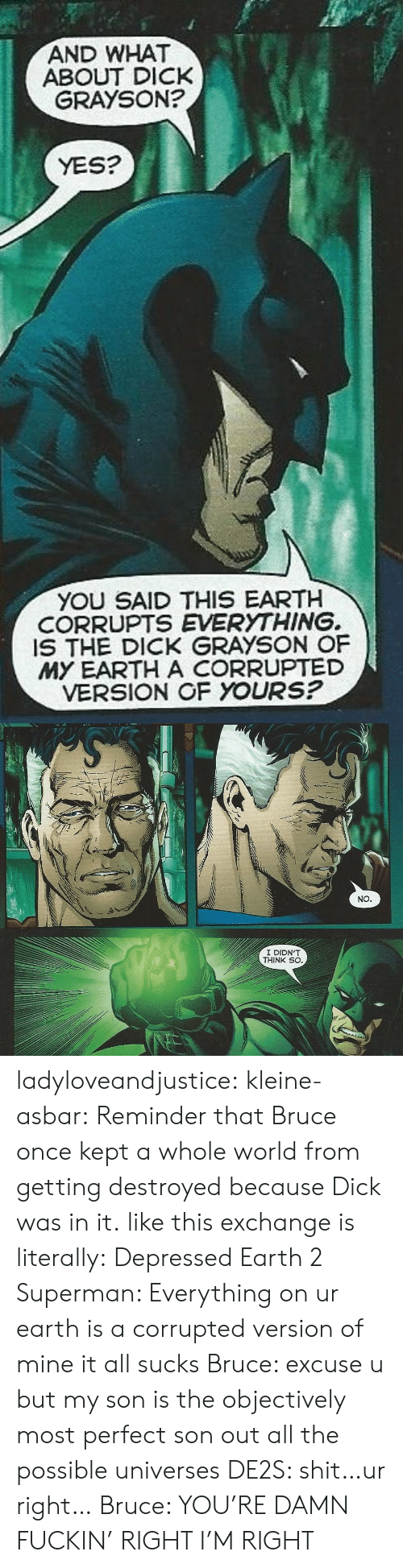 Grayson: AND WHAT  GRAYSON?  ABOUT DICK  YES?  YOU SAID THIS EARTH  CORRUPTS EVERYTHING.  IS THE DICK GRAYSON OF  MY EARTH A CORRUPTED  VERSION OF YOURS?   NO   I DIDN'T  THINK SO ladyloveandjustice:  kleine-asbar: Reminder that Bruce once kept a whole world from getting destroyed because Dick was in it. like this exchange is literally: Depressed Earth 2 Superman: Everything on ur earth is a corrupted version of mine it all sucks Bruce: excuse u but my son is the objectively most perfect son out all the possible universes DE2S: shit…ur right… Bruce: YOU'RE DAMN FUCKIN' RIGHT I'M RIGHT