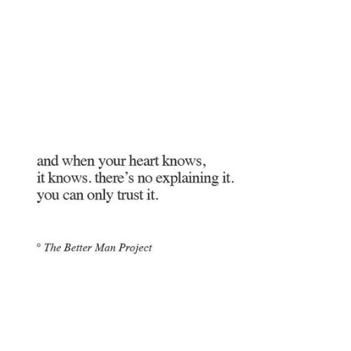 Heart, Project, and Can: and when your heart knows,  it knows. there's no explaining it  you can only trust it  The Better Man Project