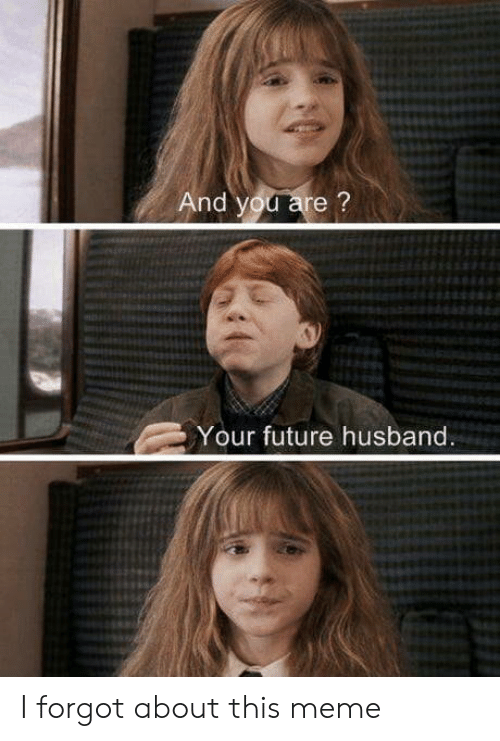 Future, Meme, and Husband: And you are?  Your future husband. I forgot about this meme