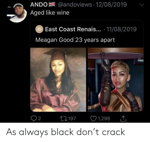 Wine, Black, and Good: ANDO @andoviews 12/08/2019  Aged like wine  EXR East Coast Renais... 11/08/2019  Meagan Good 23 years apart  L197  2  1,296 As always black don't crack