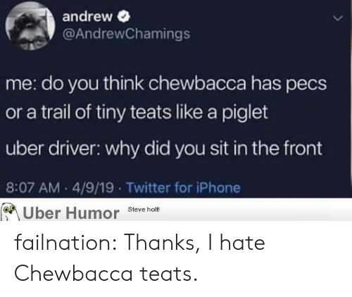 Chewbacca, Iphone, and Tumblr: andrew  @AndrewChamings  me: do you think chewbacca has pecs  or a trail of tiny teats like a piglet  uber driver: why did you sit in the front  8:07 AM 4/9/19 Twitter for iPhone  Uber Humor Steve holt! failnation:  Thanks, I hate Chewbacca teats.