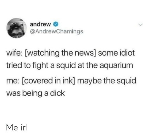 Aquarium: andrew  @AndrewChamings  wife: [watching the news] some idiot  tried to fight a squid at the aquarium  me: [covered in ink] maybe the squid  was being a dick Me irl